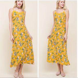 Mustard Floral Sheath Dress